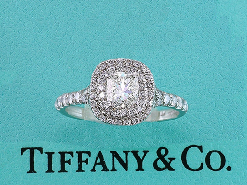 edbb5705583 Tiffany   Co Engagement Ring Soleste Platinum Cushion Cut