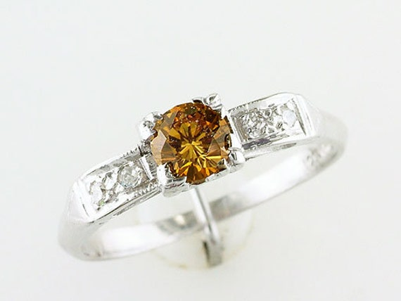 Vintage Band Ring Yellow Gold tone Oval Faux Carnelian Fancy Raised Relief Cigar Band Style Wedding Stacker Design Size 9