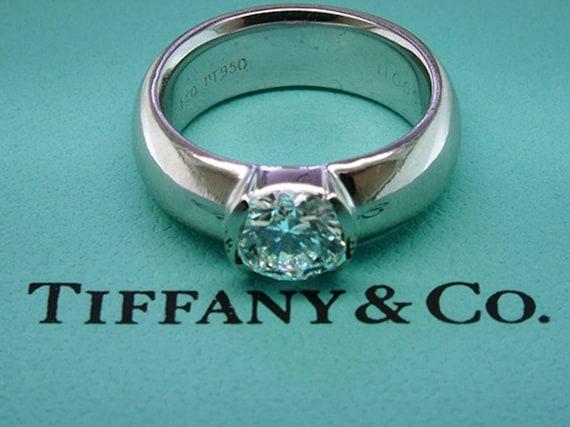 cea08b5cd Tiffany & Co Etoile Diamond Engagement Ring Solitaire Platinum | Etsy