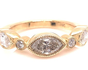 Diamond Band Stackable Anniversary Wedding Ring 1.77ct Marquise 14K Brand New