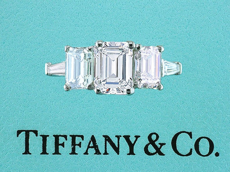 c174e0ed015e4 Tiffany & Co Engagement Ring 3 Stone Emerald Cut with Baguettes 2.78cttw  E-VVS1