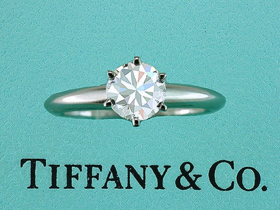 0ac541bb4 Tiffany & Co Engagement Ring Diamond Solitaire Platinum 1.10ct | Etsy