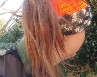 Orange Camo Hunting Hat, Crochet Ponytail Beanie, Pony Tail Messy Bun Toboggan, Safety Orange Handmade Ponytail Hat, Hunting Gifts for Her