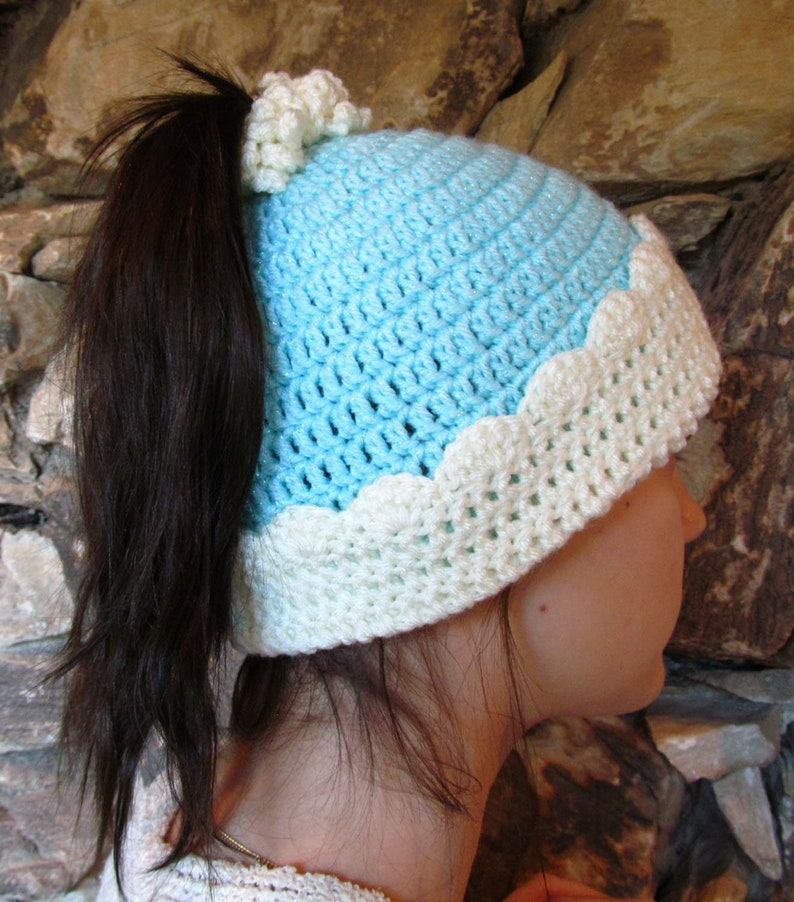 57abea74e542f Sky Blue Pony Tail Hat Crochet Ponytail Beanie Aqua Messy