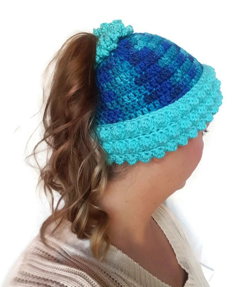 5e19712e88aac Blue Pony Tail Hat Crochet Ponytail Beanie Blue Messy Bun