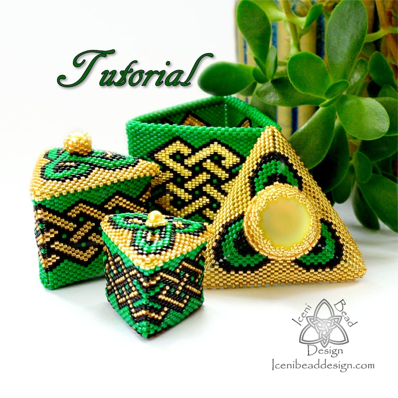 Trio of Beaded Celtic Boxes, Teulu Tri, Peyote Stitch Boxes with Lids, pdf  Tutorial, pattern, English only