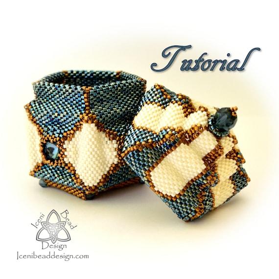 Beaded Box Pattern Arabesque Peyote Stitch Box With Lid