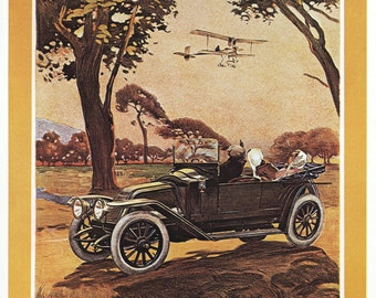 Renault Automobiles and Bi-plane Poster Print