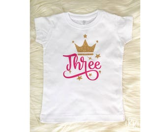 Baby Girl Clothes Girls 3rd Birthday Outfit Crown Shirt Princess Personalized Clothing
