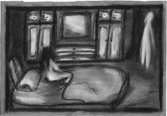 Print A5 Contemplation illustration creepy ink darkism drawing surreal decoration home