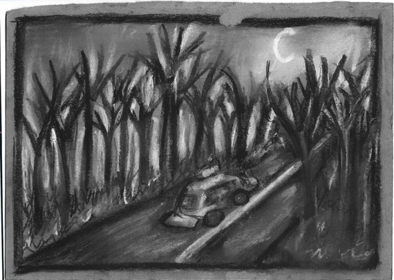 Night Drive Nightmare - Eerie drawing, eerie art, dark art, creepy art,  paranormal, nightmare art, charcoal drawing, forest, biographical