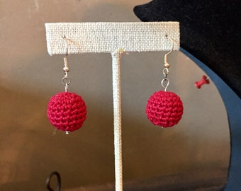 Red Crochet Bead Earrings / Bead Earrings / Spring Earrings / Fashion Jewelry / Spring Jewelry / Gifts for Women / Gifts Under 20