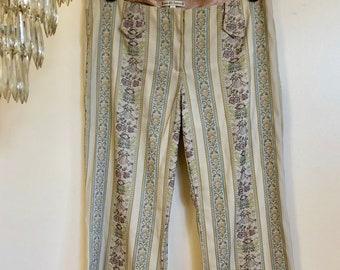 Vintage Nanette Lepore Silk Printed Pants // Womens Floral Print Striped Slacks Trousers