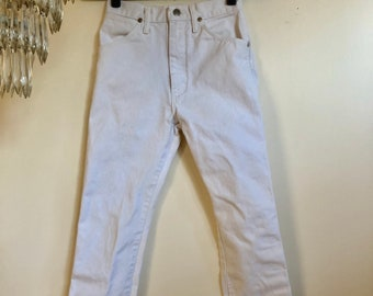 Vintage White Wrangler Jeans // Classic Tapered Skinny High Waisted White Denim Pants // 23 24 25 // XXSMALL XSMALL