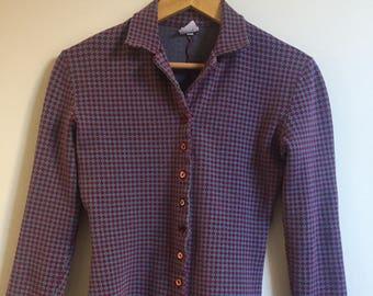 Vintage 1990s United Colors of Benetton Shirt // Diamond Print Plaid Collared Button Down Shirt