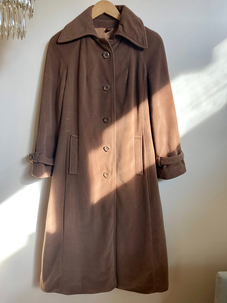 clear-cut texture best wholesaler reasonable price Vintage 70s Caramel Cashmere Coat // Brown Beige Silk Lined Winter Coat //  Maxi Long // SMALL