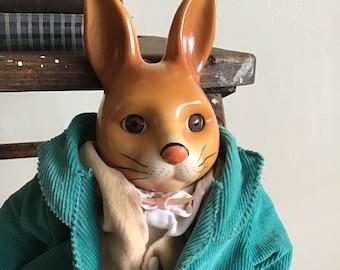 Vintage Silvestri Rabbit w/Ceramic Head, Hands, Feet -Rare 1970's Beatrice Potter Style Bunny w/Corduroy Coat & Velvet Vest -Button Jointed