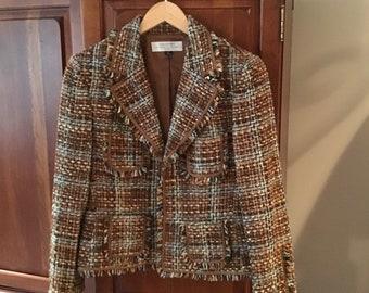 Vintage Tahari Fringe Trim Tweed Blazer - Classic Designer Style & Quality - Authur S. Levine - Size 6 Petite - Excellent Condition - Lined