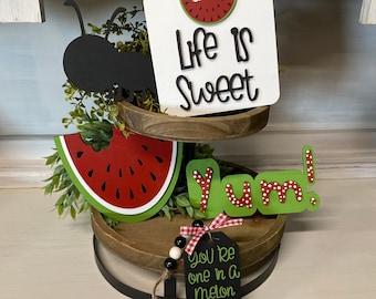 Watermelon Tiered Tray Signs   Tier Tray Decor   Watermelon Decor   Picnic theme tray   Summer Decor for Kitchen