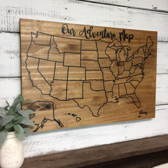 US Wood Map | Travel map | USA Travel Map | Personalized | Pin Map | US Map  with pins | United States Map | Customized