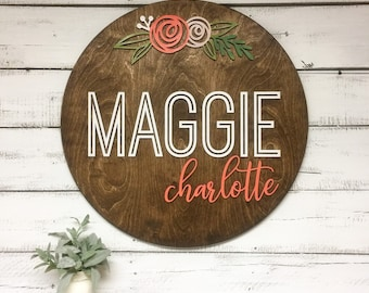 3D Round Nursery Name Sign   Baby Shower Gift for Newborn   Baby Name Sign   Nursery Decor    Child Room Decor