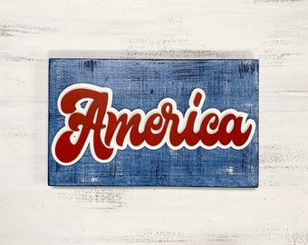 America Vintage Wood Sign   4th of July American sign   Red White and Blue Decor   Denim paint look