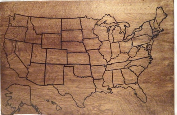 US Wood Map Travel map USA Travel Map Personalized Pin | Etsy