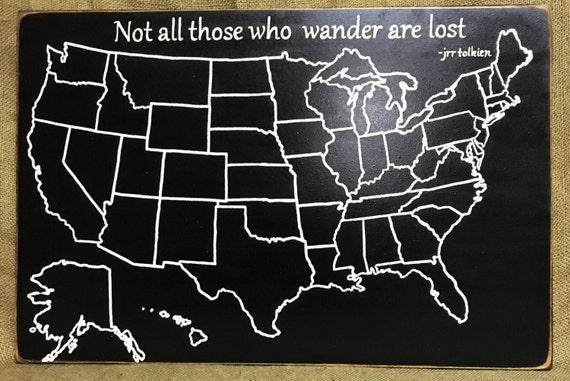 Travel Map US Wood Map USA Travel Map Not all those who | Etsy