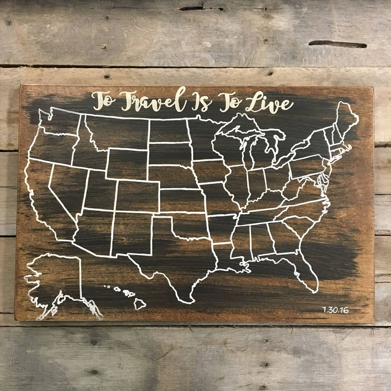 Travel Map US Wood Map USA Travel Map Personalized Pin | Etsy