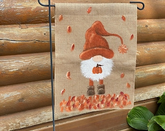 Garden Flag for Fall   Outdoor Fall decor   Hand painted gnome   Flag for flower bed   Gift for Gnome lover