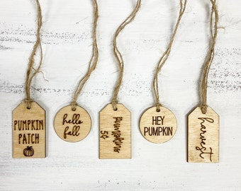 Wooden Fall Tag Set   Pumpkin Patch Tag   Hello Fall   Fall decor   Table setting tags   Mini wooden tags for pumpkins