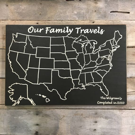 Travel Map Adventure Map Our Family Travels Us Wood Map Etsy - Personalized-us-travel-map-with-pins