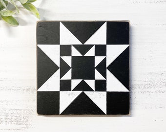 Quilt Square Wood Sign   Wooden Quilt Block   Farmhouse decor   Tiered Tray Mini Sign   Black and White Decor
