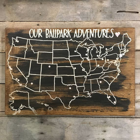 Baseball Travel Map US Wood Map USA Travel Map baseball | Etsy