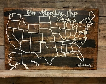 Travel Map   Wooden Adventure Map   Wood Map   USA Travel Map   Personalized gift   Pin Map   US Map with pins   United States Map