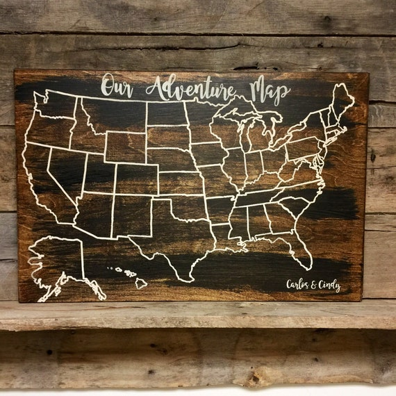Personalized Us Map.Travel Map Map At Wood Map Usa Travel Map Personalized Etsy