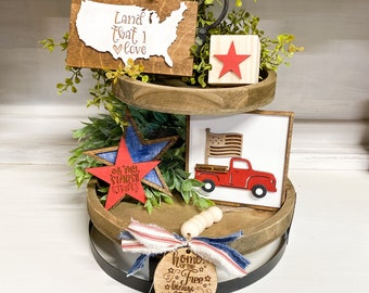 Patriotic Tiered Tray Set   Tiered Tray Decor   Mini Sign Set for Trays   4th of July Tiered Tray    Red white blue Decor   DIY Tiered Tray