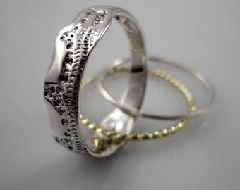 His And Hers Wedding Rings Set Silver Wedding Bands Set Set Etsy