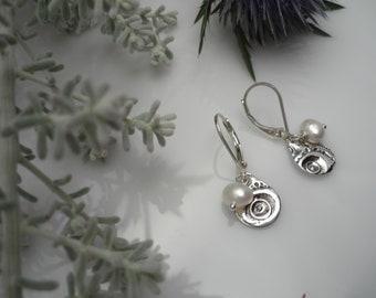 Small Sterling Silver and pearl Earrings, Drop water Sterling Silver Earrings, womens silver earrings, organic minimalist earrings