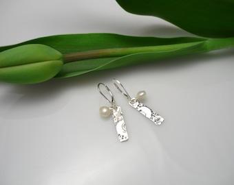 Pearl and silver earrings,pearl earrings,real pearl