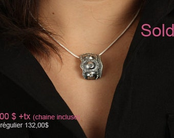 50% OFF - Sea urchin shell pendant, orginal, sterling silver