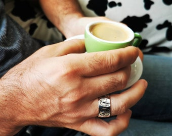 Father's day gift, men silver ring, men ring, coffee bean men silver ring, wide silver ring band ring, large size men ring, made in Canada