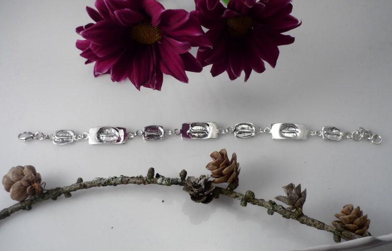 Sterling silver bracelet women silver bracelet wide silver link bracelet men silver bracelet coffee bean imprint silver bracelet