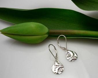Small Sterling Silver Earrings/ Drop water Sterling Silver Earrings / sea urchin imprint