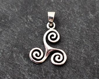 Triskelion Pendant, Sterling Silver, Irish Pendant, Celtic Pendant, Celtic Knot, Triskele Pendant, Irish Necklace, Celtic Necklace