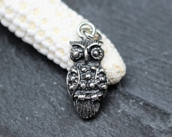 Sterling Silver Owl Charm, Small Pendant
