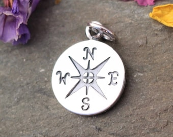 Sterling Silver Pendant Charm Travel Silver Compass Journey Compass Pendant 925 Compass Charm Graduation Compass Rose