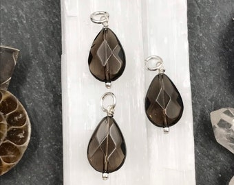 Petite Pendant Small Smoky Quartz Pendant Dainty Charm Only Brown Gemstone Charm Wire Wrapped Charm Add A Dangle Smoky Quartz Charm