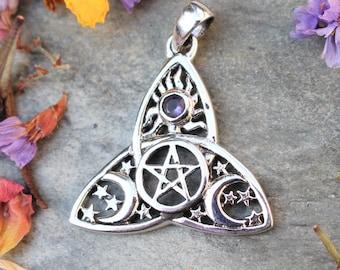 Sterling Silver Celtic Triquetra Celestial Pentagram Pendant, Trinity Knot, Triquetra, Celtic Pendant, Moon Pendant, Moon Pentagram, 925