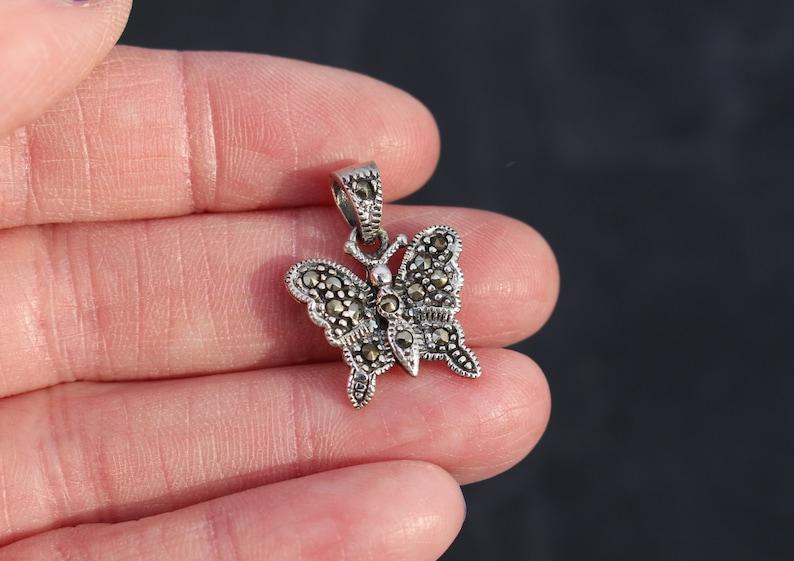 Silver Butterfly Sterling Silver Butterfly Necklace Butterfly Charm Small Butterfly Butterfly Pendant Fancy Butterfly Marcasite